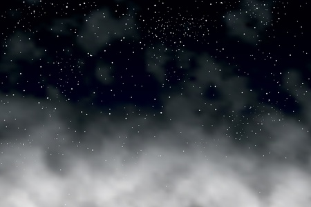 above clouds: Editable vector illustration of stars in the night sky above clouds made with a gradient mesh