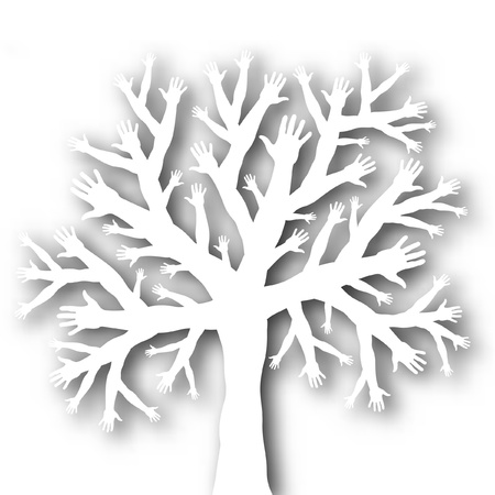 tree branches: Editable vector cutout of a tree with branches and roots made of hands with background shadow made using a gradient mesh