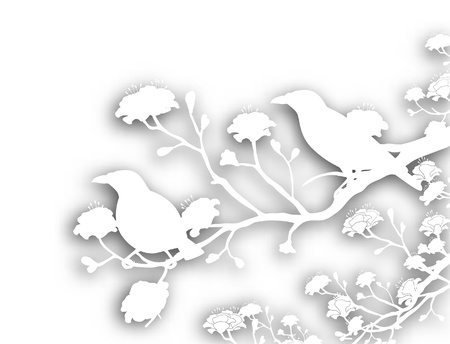 bird shadow: Editable vector cutout illustration of a pair of wild myna birds with background shadow made using a gradient mesh