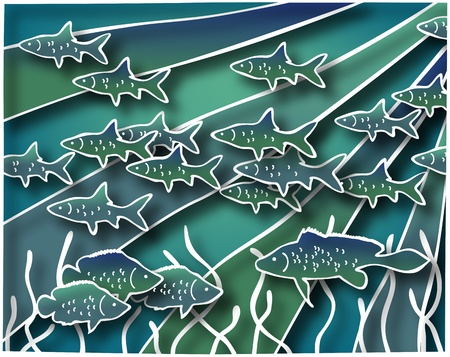 Illustration of fish in batik style with drop shadows illustration