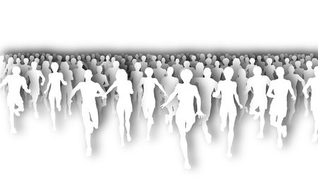 Illustration of a large group of people running with drop shadows Stock Illustration - 9855999