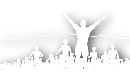 outdoor fitness: Editable vector cutout of a man winning a race with background shadow made using a gradient mesh