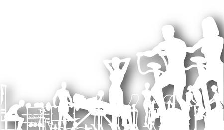 fitness hombres: Recorte vectorial editable de personas ejercicio en un gimnasio con sombra de fondo con una malla de degradado