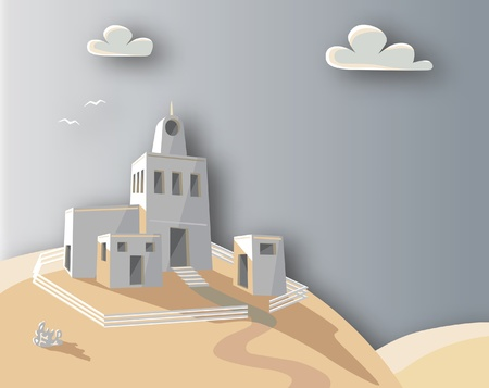 homestead: Editable vector illustration of an adobe homestead on a hilltop with background made using a gradient mesh
