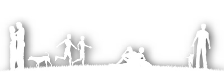 Editable vector cutout of people in a parks with background shadow made using a gradient mesh Stock Vector - 9856005