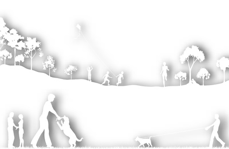 dog park: Editable vector cutout of a city park with background shadows made of two separate gradient meshes