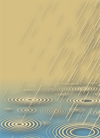 Editable vector illustration of rain falling into water with background shadow made using a gradient mesh Ilustração