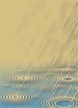 drench: Ilustraci�n vectorial editable de la lluvia caer en agua con sombra de fondo con una malla de degradado