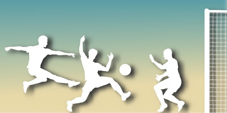 striker: Editable vector cutout of action in a football match with background made using a gradient mesh Illustration