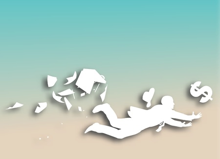 Editable vector cutout of a businessman desperately trying to catch a falling dollar with background made using a gradient mesh Vector