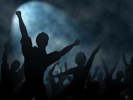 crowd happy people: Editable vector silhouettes of people cheering or celebrating under a smoky spotlight with background made using a gradient mesh