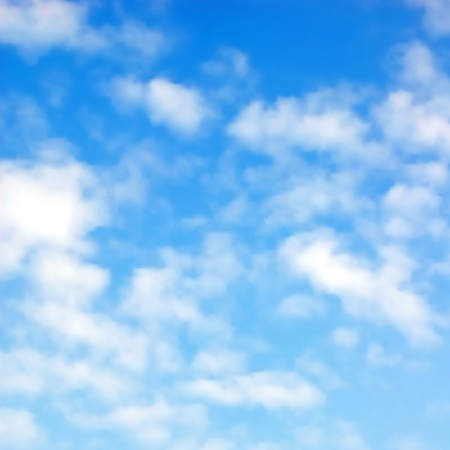 blue sky background: Editable vector illustration of fluffy white clouds in a blue sky made using a gradient mesh
