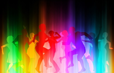 Editable eps10 vector illustration of people dancing at a colorful disco Stock Vector - 9931573