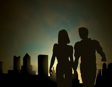morning walk: Editable silhouette of a couple walking in a city at dawn or dusk with sky made using a gradient mesh