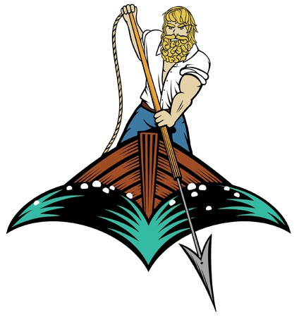 spear: Illustration of a man about to throw a harpoon from a boat in woodcut style Illustration