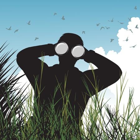 kijker: een man met een verrekijker vogels kijken