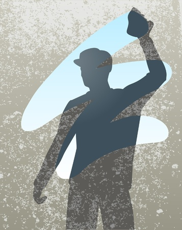window cleaner: silhouette of a man cleaning a window
