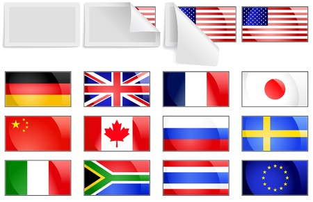 Editable selection of fresh bright international flag transfer stickers with unpeeling cover Vector