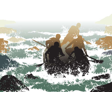 Editable illustration of people in a rubber dinghy going down whitewater rapids Vector