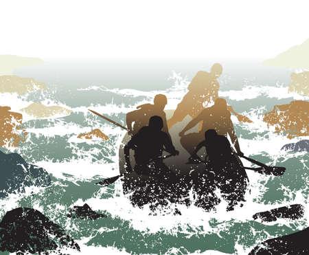 the boat on the river: Ilustraci�n editable de personas en una embarcaci�n de goma bajando whitewater r�pidos
