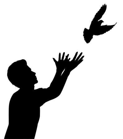 palomas volando: Silueta vectorial editable de un hombre lanzando una paloma