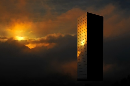 Editable vector illustration of a skyscraper reflecting the rising sun made with gradient meshes Stock Vector - 10977575