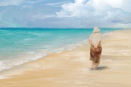 Painting of a woman wandering along a tropical beach photo