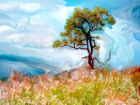 hillside: Painting of a single tree on a grassy hillside Stock Photo