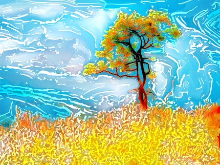 digital   painting: Digital painting in woodcut batik style of a tree, grass and sky Stock Photo