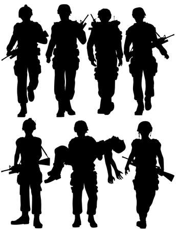 Set of editable silhouettes of walking soldiers Vector