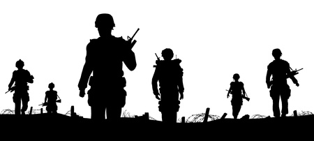 Editable foreground of silhouettes of walking soldiers on patrol with figures as separate elements Vector