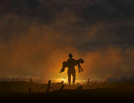 silhouette soldat: Illustration modifiable d'un soldat portant un camarade blessé avec un fond fait en utilisant un filet de dégradé