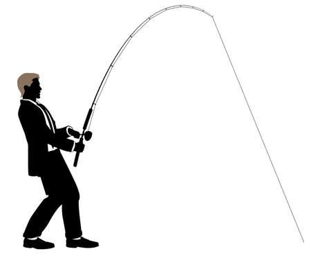 canna pesca: Illustrazione modificabile di un uomo d'affari pesca