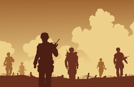 Editable illustration soldiers walking on patrol  Vector