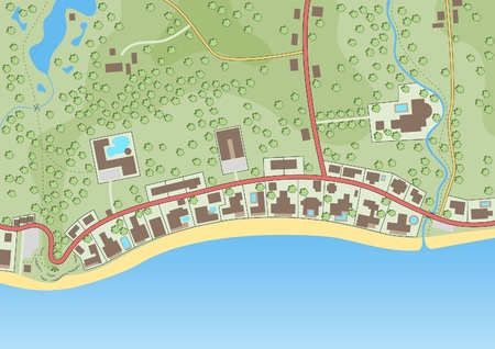 Editable vector illustration of a generic map of exclusive beachfront homes