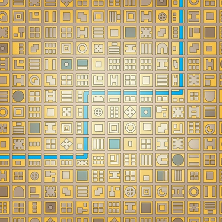 urban planning: Abstract editable vector stylized map of a generic city in a grid pattern