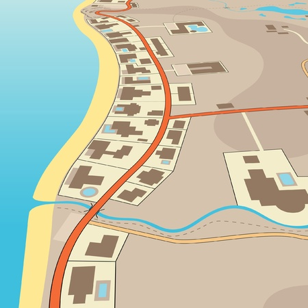 Editable illustration of an angled generic map of exclusive beachfront homes Stock Vector - 11268366