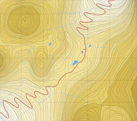 mountain pass: Editable generic map of a road over a mountain pass with no labels Illustration