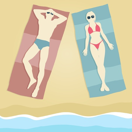 towel beach: Editable illustration of a man and woman sunbathing on beach towels