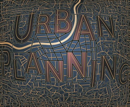 urban planning: Editable map of a generic city with the streets spelling the words  Illustration