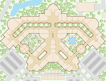 department store: Editable illustration of an unlabeled generic shopping mall map