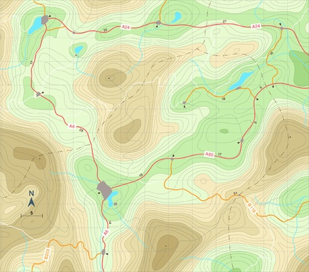 roadmap: Editable illustration of a generic map showing relief contours