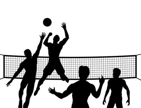 voleibol: las siluetas de cuatro hombres jugando voleibol de playa