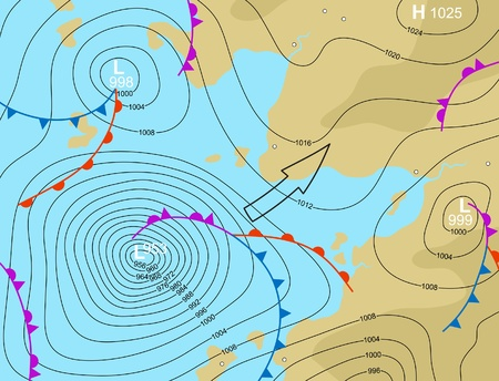 weather map: illustration of a generic weather map showing a storm depression