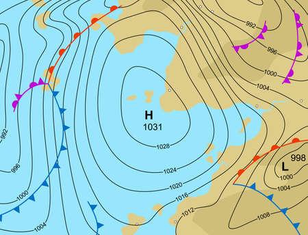 meteo: illustrazione di una mappa del tempo generica che mostra un sistema ad alta pressione