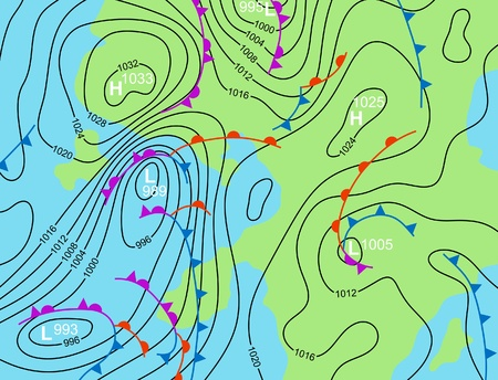 대기의: illustration of a generic weather system map