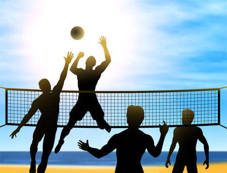 pelota de voleibol: las siluetas de cuatro hombres jugando voleibol de playa