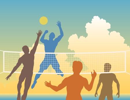 pelota de voleibol: siluetas de colores de los cuatro hombres jugando voleibol de playa