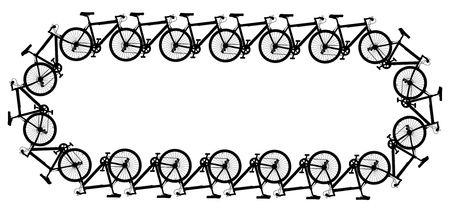 Editable vector design of a chain made of generic bicycle silhouettes Vector