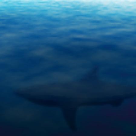 lurk: Illustrazione vettoriale modificabile di un sottomarino ombra squalo effettuata utilizzando un gradiente maglie Vettoriali